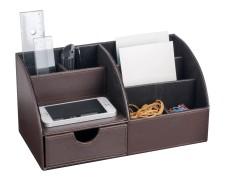 PAVO edler Schreibtischorganizer braun 6 separate Fächer Kunstleder 30x15x15cm