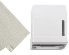 Falthandtuch-Spender, abschliessbar, weiß inkl. 500 Blatt Falthandtuch 25x23cm