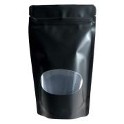 Standbodenbeutel PET schwarz glänzend mit Fenster 180x290x90mm, 1000ml, 500 Stk.