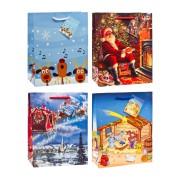 Premium Geschenktüten Präsenttüten mittel Weihnachten 2 | 227x180x100mm 12 Stk.
