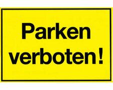Gebotsschild gelb Parken verboten - 300x200mm