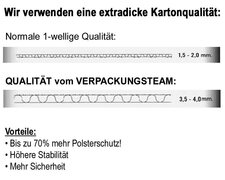Faltkarton  550x350x(50)-100mm mit VARIABLER HÖHE, 1wellig DICKWELLE