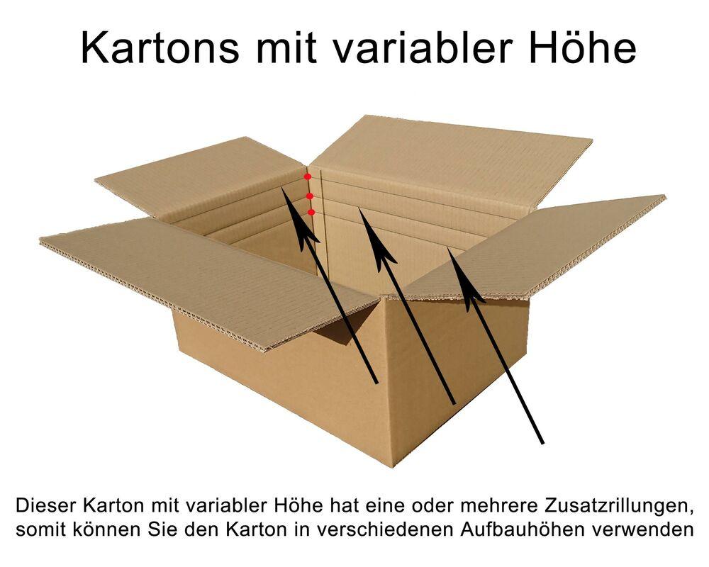 Faltkarton  500x210x(500)-750mm VARIABLE HÖHE, 2wellig